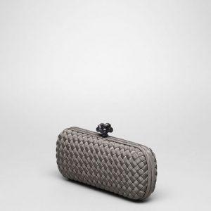 Bottega Veneta Shadow Intrecciato Silk Stretch Knot Clutch Bag