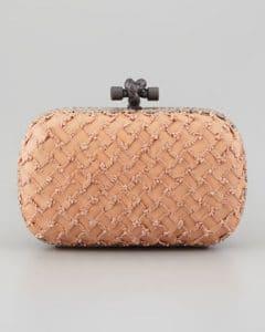 Bottega Veneta Tan Woven Knot Clutch Bag