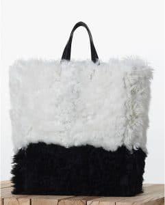 Celine Bicolor Shearling Cabas Tote bag
