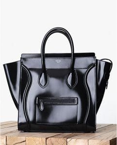 Celine Black Patent Mini Luggage Bag - Fall 2013