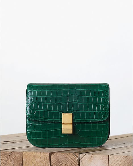 Celine Emerald Green Calfskin Leather Small Phantom Luggage Tote Bag