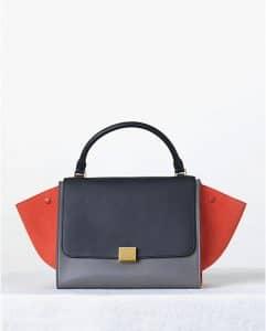 Celine Tricolor Orange and Blue Trapeze Bag - Fall 2013