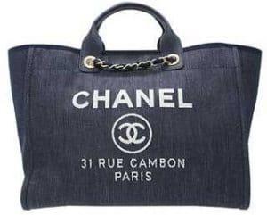 Chanel Denim Blue Deauville Jacquard Tote Large Bag 1