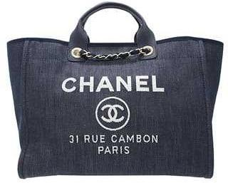 05dea55d4df6 Chanel Denim Blue Deauville Jacquard Tote Large Bag 1