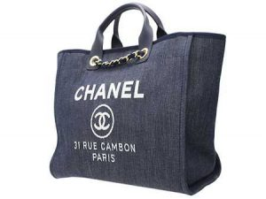 Chanel Denim Blue Deauville Jacquard Tote Large Bag 2