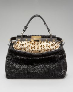 Fendi Black Beaded Snakeskin Peekaboo Mini Bag