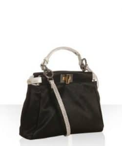 Fendi Black Shantung Satin With Snake Detail Peekaboo Mini Bag