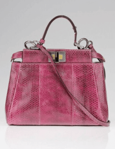 Fendi Pink Snakeskin Peekaboo Mini Bag