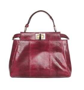 Fendi Red Snakeskin Peekaboo Mini Bag