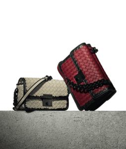 Bottega Veneta Pearl/Fraise Nero Intreciatto Nappa Glass Karung Bags
