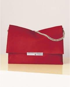 Celine Bright Red Pony Calfskin Blade Bag