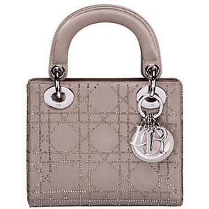 Dior Beige Rhinestone Lady Dior Micro Bag