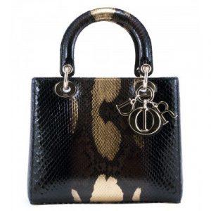Dior Black/Gold Python Lady Dior Micro Bag
