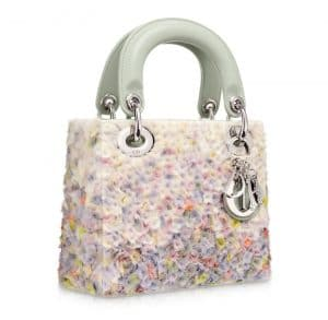 Dior Floral-embroidered Satin Lady Dior Micro Bag