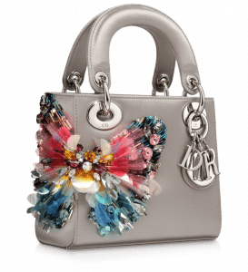 Dior Grey Satin Hand-embroidered Lady Dior Micro Bag