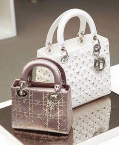 Dior Nude Satin Swarovski Micro / White Studded Medium Lady Dior Bag
