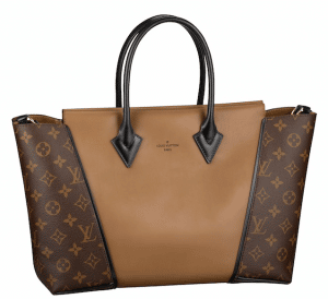 Louis Vuitton Noisette Cuir Orfevre with Monogram Canvas sides W PM Bag