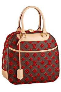 Louis Vuitton Red Monogram Tuffetage Canvas Deauville Cube Bag