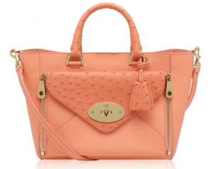 Mulberry Bright Apricot Classic Cald And Ostrich Small Willow Tote Bag