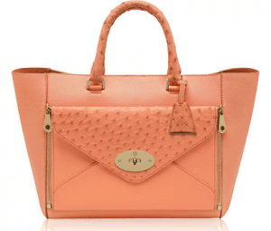 Mulberry Bright Apricot Classic Calf & Ostrich Willow Tote Bag