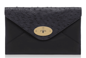 Mulberry Navy Classic Calf and Ostrich Mix Willow Clutch Bag
