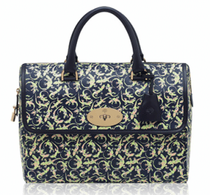 Mulberry Navy Mini Gecko Print Leather Del Rey Bag