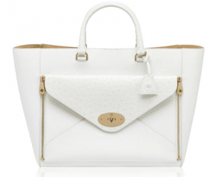 Mulberry White Classic Calf and Ostrich Willow Tote Bag