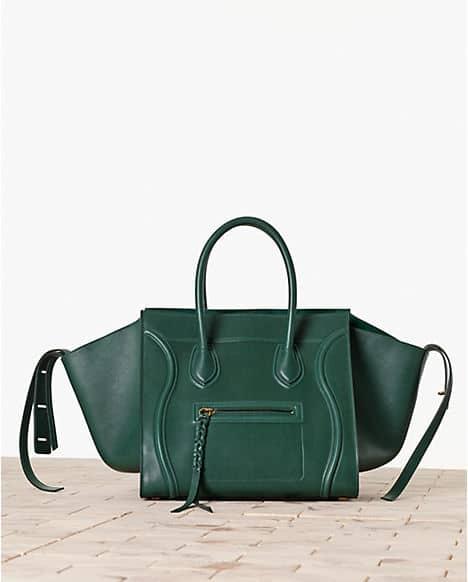 celine green leather handbag cabas phantom