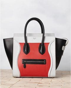 Celine Tricolor Satin Red Vermillon Bag - Winter 2013