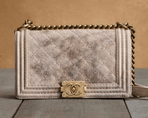 Chanel Beige/Gold Metallic Suede Boy Chanel Quilted Bag