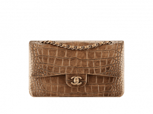 Chanel Brown Quilted Alligator Classic Flap Medium Bag