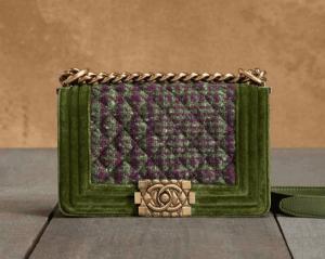Chanel Green/Violet Boy Chanel Tweed Medium Bag