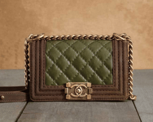 Chanel Green/Brown Boy Chanel Quilted Medium Bag
