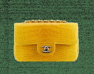 Chanel Yellow Alligator Classic Flap Mini Bag