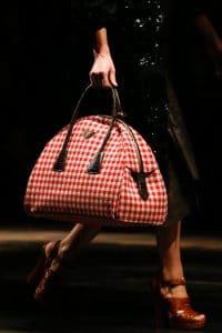 Prada Red/White Checkered Bowler Bag - Fall 2013