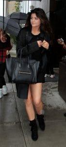 Kylie Jenner with Celine Black Mini Luggage Bag 7