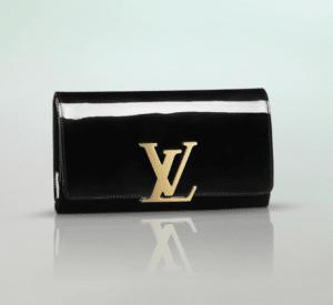 Louis Vuitton Black Patent Louise Clutch Bag