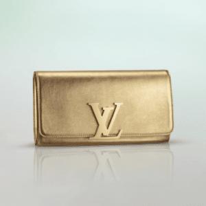 Louis Vuitton Golden Calfskin Louise Clutch Bag