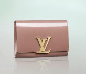Louis Vuitton Rose Velours Patent Louise Clutch Bag