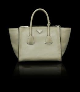 Prada Beige Glace Calfskin Twin Pocket Tote Bag