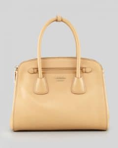 Prada Beige Saffiano Cuir Double-Zip Tote Small Bag