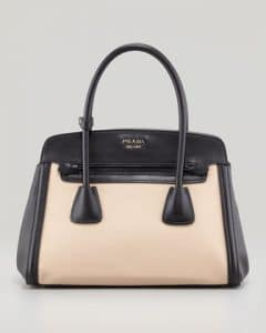 Prada Black Canvas and Saffiano Tote Small Bag