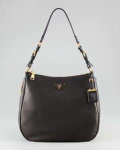 Prada Black Cervo Hobo Bag