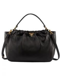 Prada Black Cervo Pleat Bag
