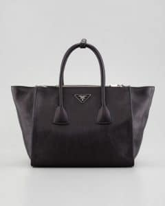 Prada Black Glace Calf Twin Pocket Tote Bag