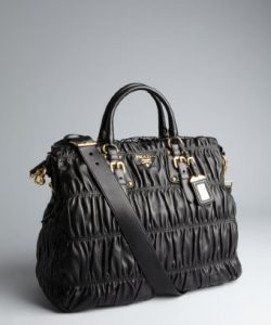 Prada Black Napa Gaufre Convertible Tote Bag