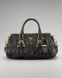 Prada Black Napa Gaufre Satchel Small Bag