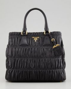 Prada Black Napa Gaufre Zip-Top Tote Large Bag