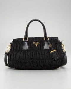 Prada Black Nylon Gaufre Small Tote Bag