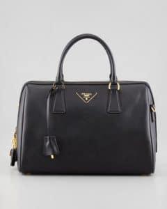 Prada Black Saffiano Bowler Bag